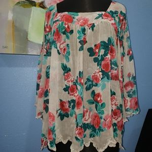 Sheer Floral Jessica Simpson Flowy Top 2X